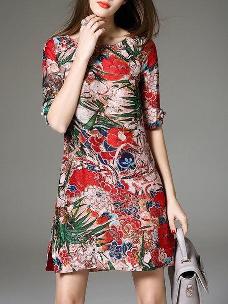 A-line Half Sleeve Vintage Floral Mini Dress