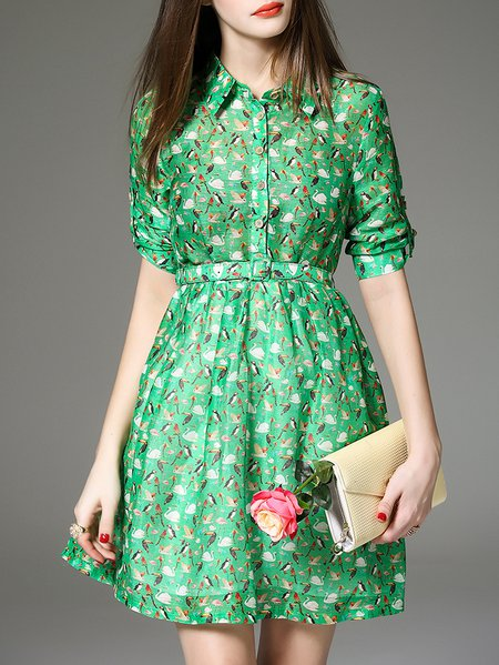 Green A-line Shirt Collar Animal Print Half Sleeve Shirt Dress