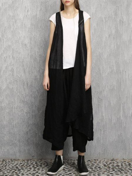 Black A-line Linen Sleeveless Vest