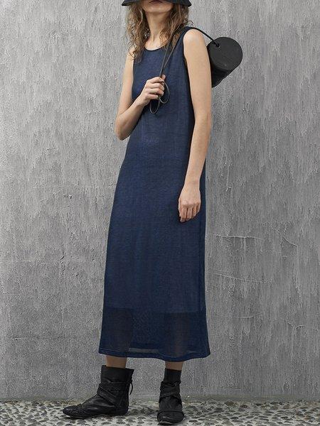 Plain Polyester Shift Sleeveless Casual Midi Dress
