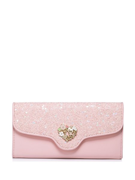 Pink Casual Fold-over Flat Top PU Wallet