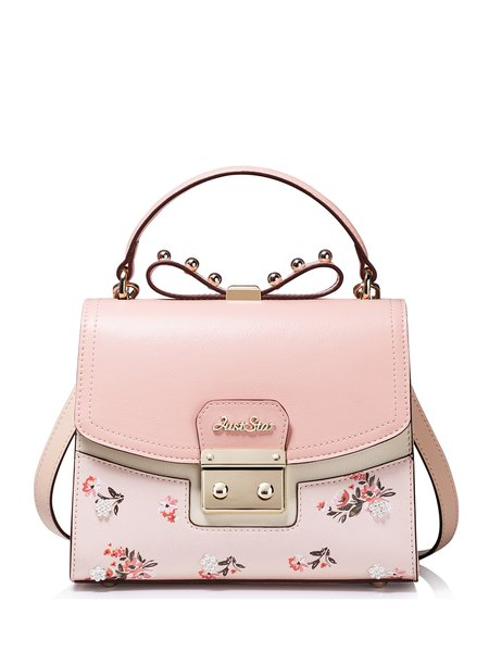 Pink Push Lock Casual PU Satchel
