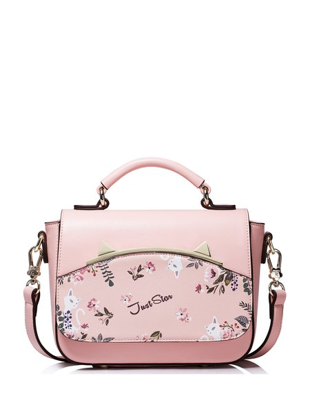 Pink Casual Printed PU Small Satchel