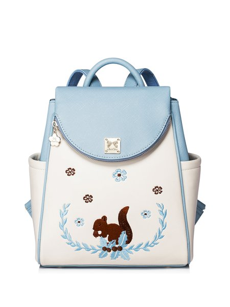 Multicolor Zipper Casual PU Backpack