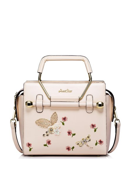 Pink Small PU Casual Satchel