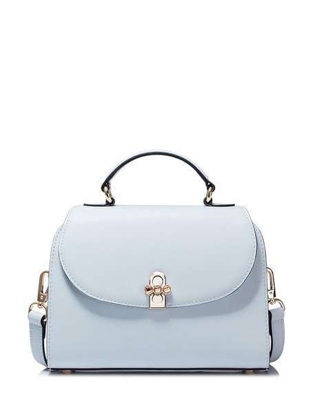 Light Blue Twist Lock Cowhide Leather Satchel
