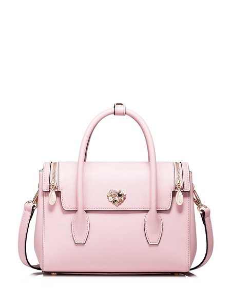 Pink Small Cowhide Leather Satchel