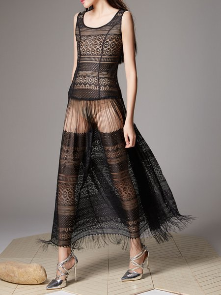 Black Halter See-through Look Sleeveless Maxi Dress
