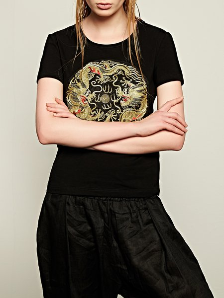Black Embroidered Crew Neck Short Sleeve T-Shirt