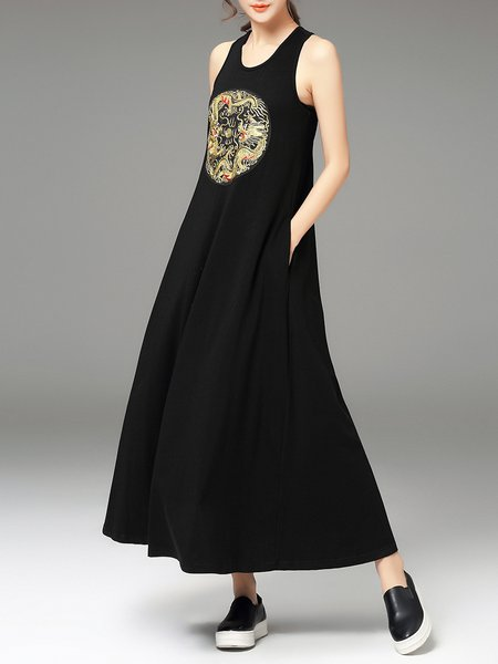 Black Cotton-blend Sleeveless Embroidered Maxi Dress