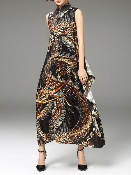 Multicolor Swing Sleeveless Maxi Dress