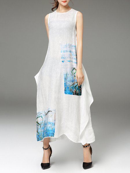 White Casual Floral Shift Maxi Dress