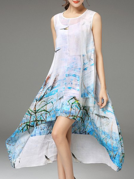 Blue Floral Printed Sleeveless Midi Dress