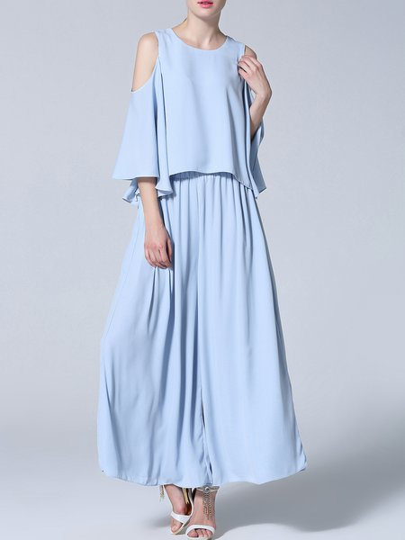 Blue 3/4 Sleeve Crew Neck Polyester Jumpsuit
