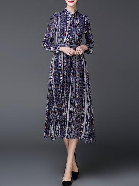 Blue Vintage Printed Shirt Dress