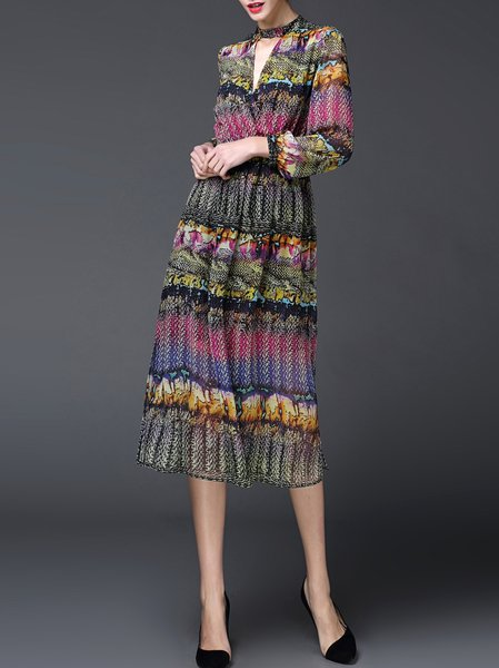 Long Sleeve Tribal Stand Collar Vintage Midi Dress