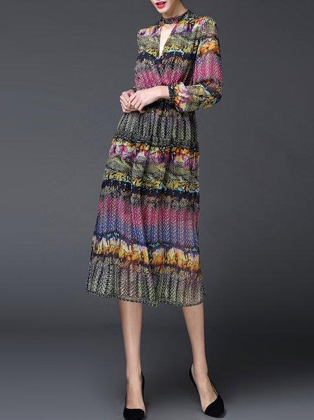Polyester A-line Printed Vintage Long Sleeve Midi Dress