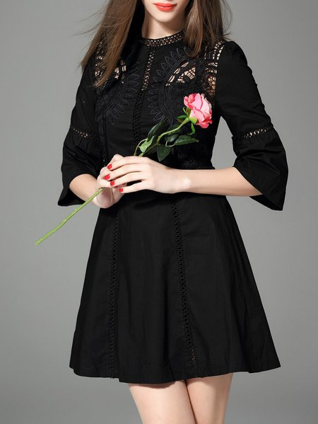 Black Vintage Polyester A-line Stand Collar Mini Dress
