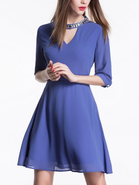 Blue A-line Polyester Half Sleeve Mini Dress