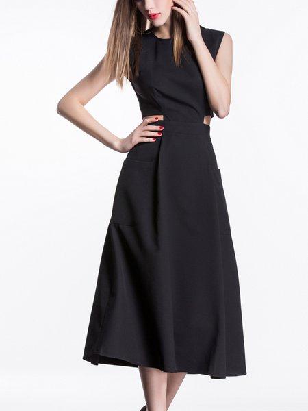 Black A-line Cutout Sleeveless Midi Dress