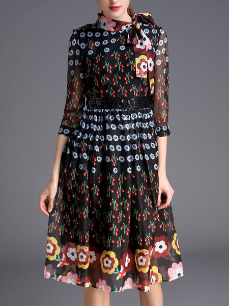 A-line Casual Floral Floral-print 3/4 Sleeve Midi Dress