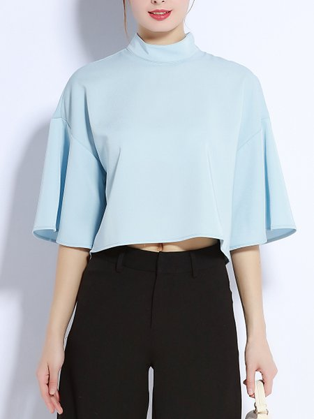 Simple 3/4 Sleeve Polyester Cropped Top