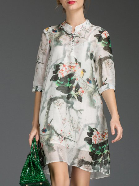 Multicolor Silk Two Piece Stand Collar 3/4 Sleeve Shirt Dress