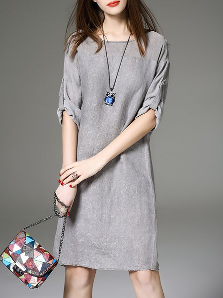 Gray Slit Half Sleeve Crew Neck Silk Midi Dress