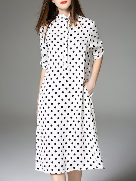 White Printed Polka Dots Girly Shirt Dress