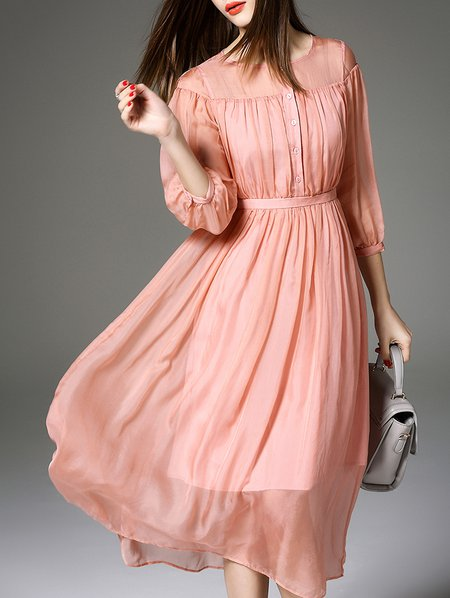 3/4 Sleeve Resort Plain Paneled Midi Dress