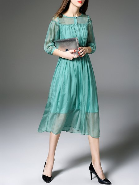 3/4 Sleeve Silk Resort Plain Midi Dress