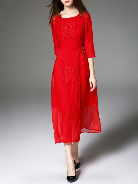 Red Embroidered 3/4 Sleeve A-line Midi Dress