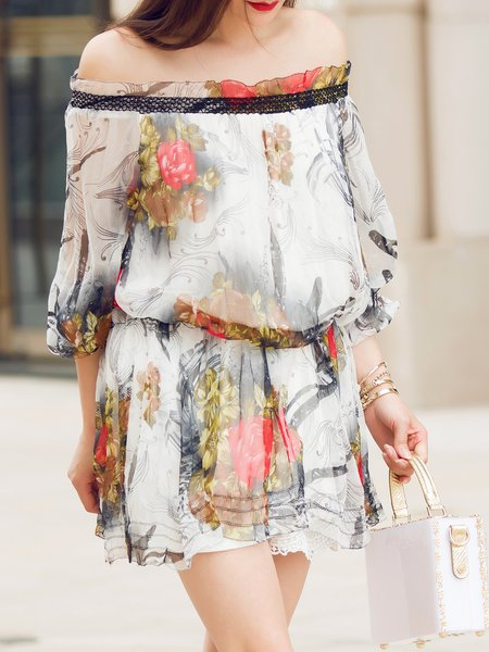 White Sweet Floral Paneled Floral-print Silk Mini Dress
