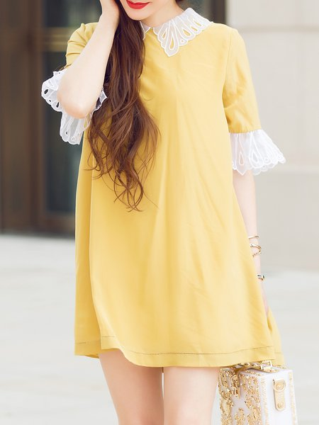 Yellow Embroidered Plain Silk Half Sleeve Mini Dress