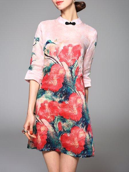 Multicolor 3/4 Sleeve Floral-print Mini Dress