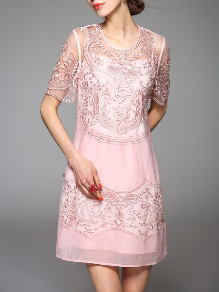 Pink Short Sleeve Embroidered Crew Neck Two Piece Mini Dress