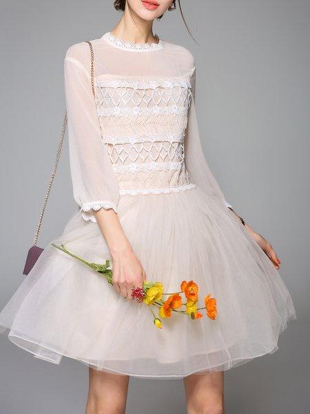 Plain Chiffon 3/4 Sleeve Casual Midi Dress