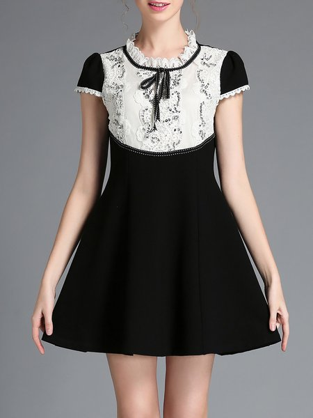 Black Plain Ruffled Short Sleeve Skater Mini Dress