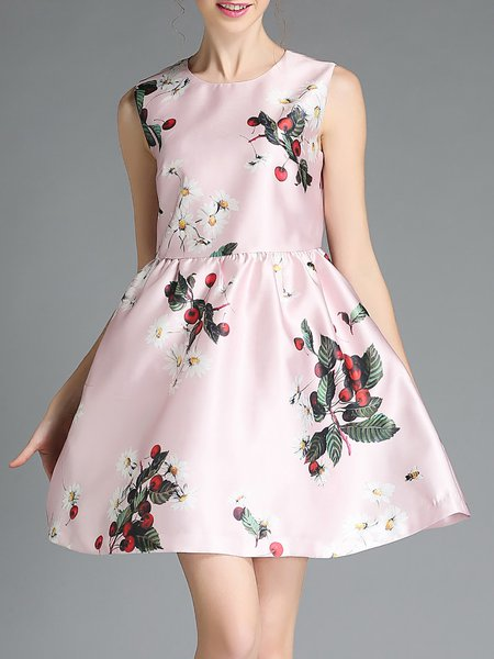 Crew Neck Satin Girly A-line Sleeveless Mini Dress