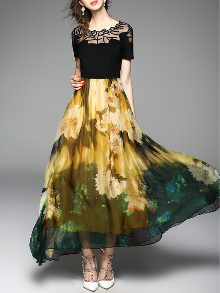Multicolor Floral Short Sleeve Swing Crew Neck Maxi Dress