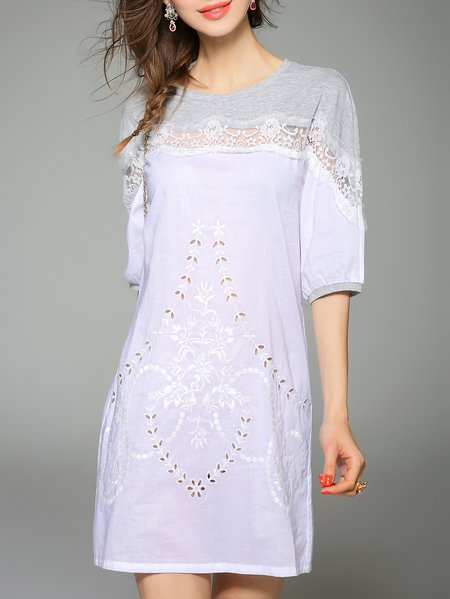White Cotton Embroidered Casual Mini Dress