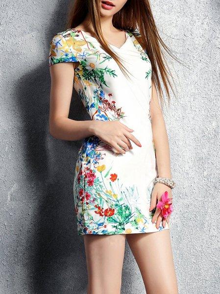 White Elegant Floral Mini Dress