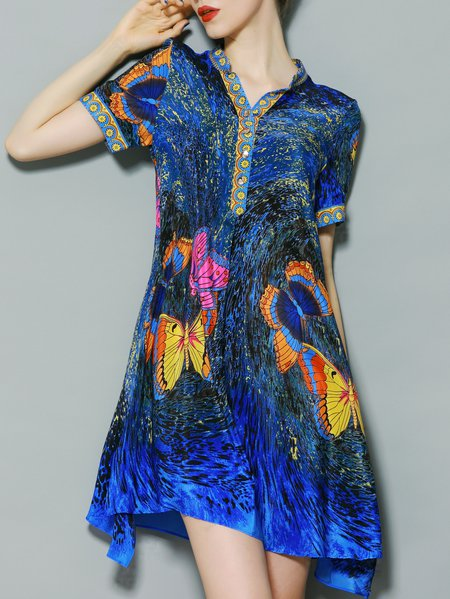 Short Sleeve Stand Collar Statement A-line Silk Mini Dress