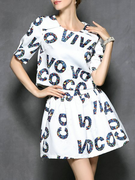 Letter Printed Two Piece Mini Dress