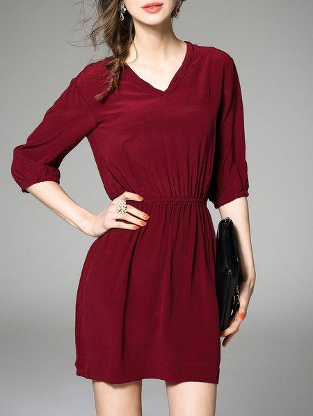 Burgundy V Neck Half Sleeve Mini Dress