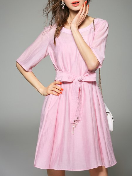 Half Sleeve Girly Plain Cotton-blend Bow Midi Dress