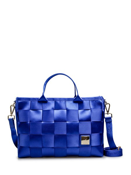 Blue Nylon Medium Casual Satchel