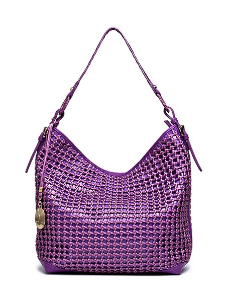 Purple Nylon Zipper Casual Shoulder Bag