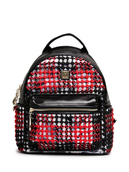 Red Nylon Casual Medium Backpack