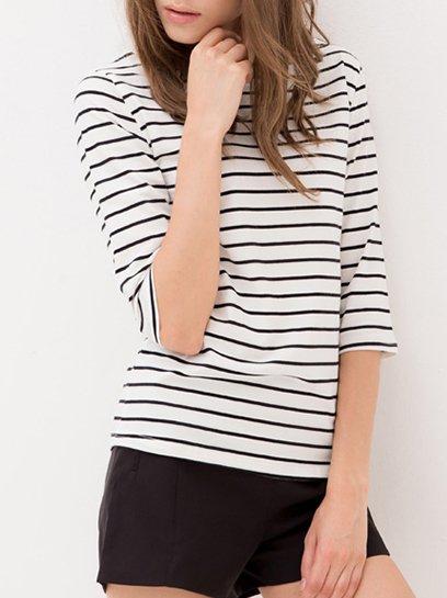 Black 3/4 Sleeve Stripes Crew Neck T-Shirt